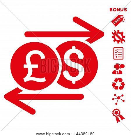 Currency Exchange icon with bonus pictograms. Vector illustration style is flat iconic symbols, red color, white background, rounded angles.