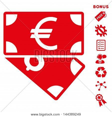 Euro and Dollar Banknotes icon with bonus pictograms. Vector illustration style is flat iconic symbols, red color, white background, rounded angles.