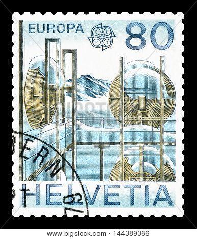 SWITZERLAND - CIRCA 1979 : Cancelled postage stamp printed by Switzerland, that shows Alpine relais station.