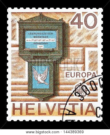 SWITZERLAND - CIRCA 1979 : Cancelled postage stamp printed by Switzerland, that shows old letterbox.