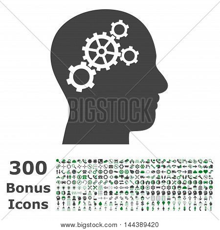 Brain Gears icon with 300 bonus icons. Vector illustration style is flat iconic bicolor symbols, green and gray colors, white background.