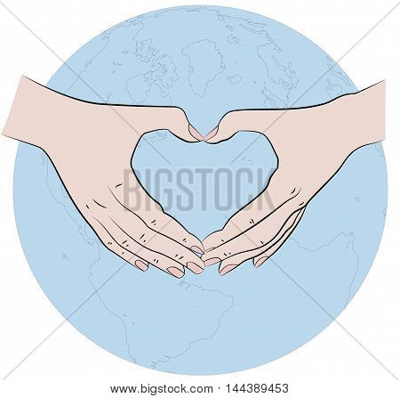 hands folded in the shape of a heart on the background of the earth. vector illustration