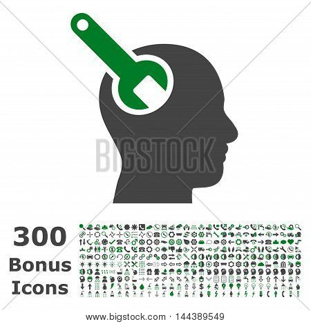 Brain Tool icon with 300 bonus icons. Vector illustration style is flat iconic bicolor symbols, green and gray colors, white background.