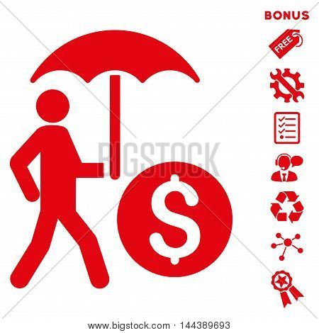 Walking Banker With Umbrella icon with bonus pictograms. Vector illustration style is flat iconic symbols, red color, white background, rounded angles.