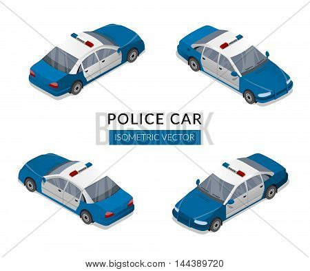 Set with flat isolated police car icons. Vector isometric illustration