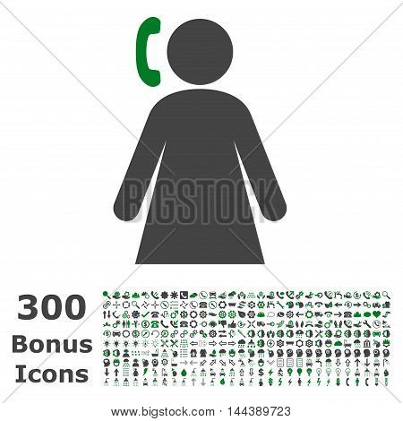 Calling Woman icon with 300 bonus icons. Vector illustration style is flat iconic bicolor symbols, green and gray colors, white background.