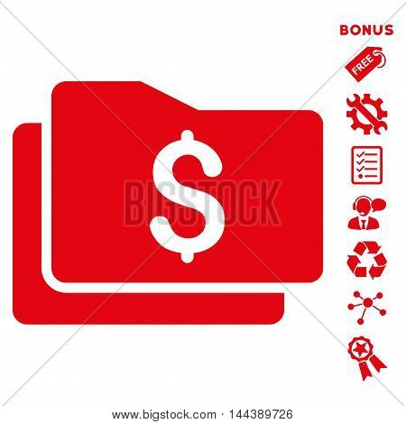 Wallet icon with bonus pictograms. Vector illustration style is flat iconic symbols, red color, white background, rounded angles.