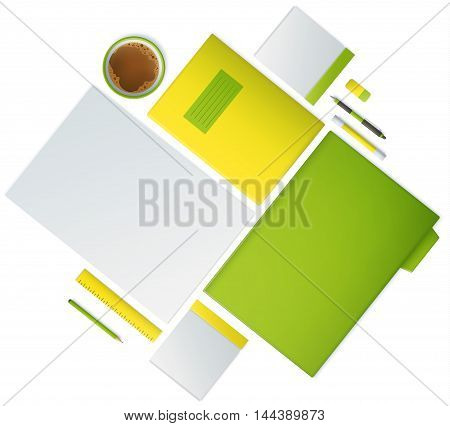Top view of working place vector illustration.
