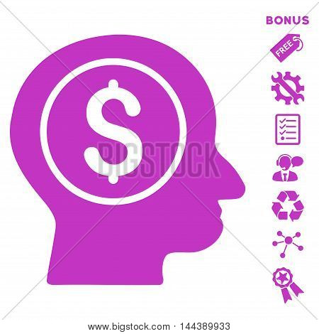 Banker icon with bonus pictograms. Vector illustration style is flat iconic symbols, violet color, white background, rounded angles.