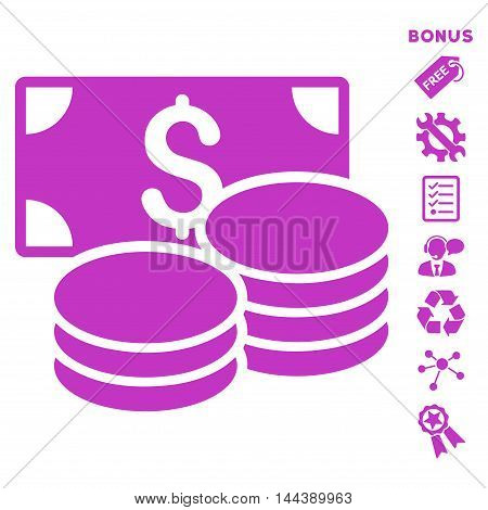 Cash icon with bonus pictograms. Vector illustration style is flat iconic symbols, violet color, white background, rounded angles.