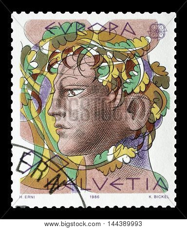 SWITZERLAND - CIRCA 1986 : Cancelled postage stamp printed by Switzerland, that shows head of a man.