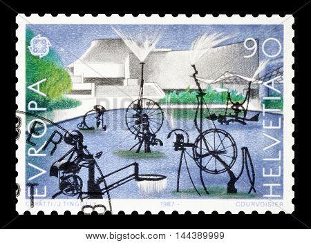SWITZERLAND - CIRCA 1987 : Cancelled postage stamp printed by Switzerland, that shows sculpture.