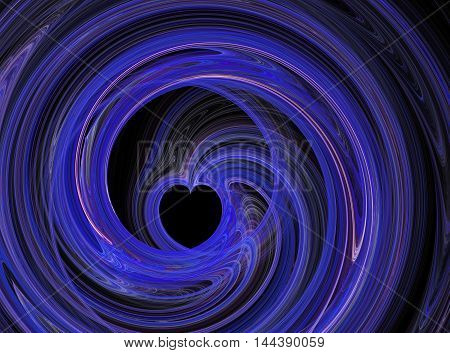 Abstract fractal blue heart swirling on black background