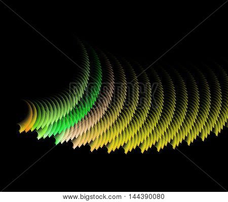 Abstract swirling yellow fractal computer generated image