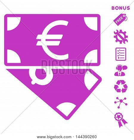 Euro and Dollar Banknotes icon with bonus pictograms. Vector illustration style is flat iconic symbols, violet color, white background, rounded angles.