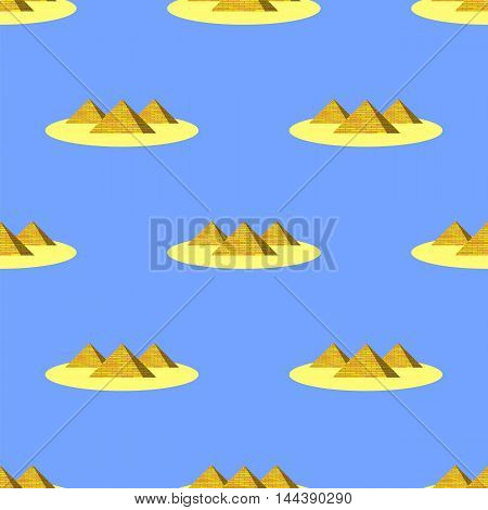 Ancient Pyramids Seamless Pattern on Blue. Historic Egiptian Building Background.
