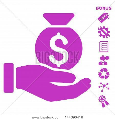 Investment Hand icon with bonus pictograms. Vector illustration style is flat iconic symbols, violet color, white background, rounded angles.