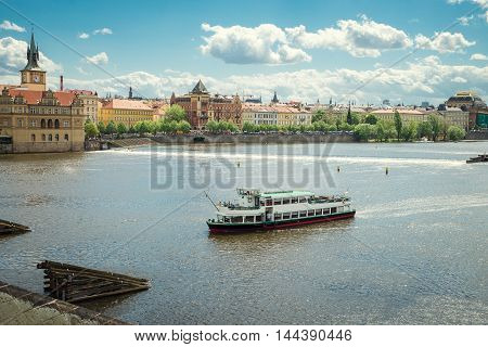 view from the Charles Bridge on the River
