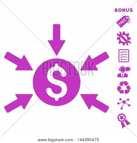 Money Income icon with bonus pictograms. Vector illustration style is flat iconic symbols, violet color, white background, rounded angles.