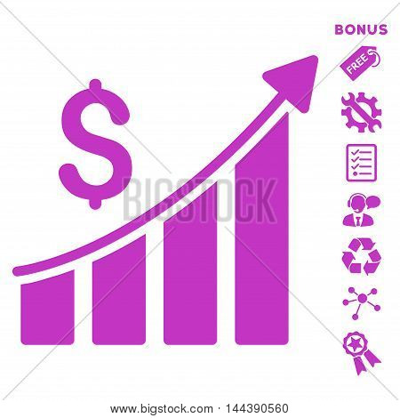 Sales Growth Bar Chart icon with bonus pictograms. Vector illustration style is flat iconic symbols, violet color, white background, rounded angles.