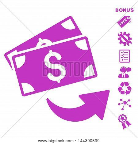 Send Money icon with bonus pictograms. Vector illustration style is flat iconic symbols, violet color, white background, rounded angles.