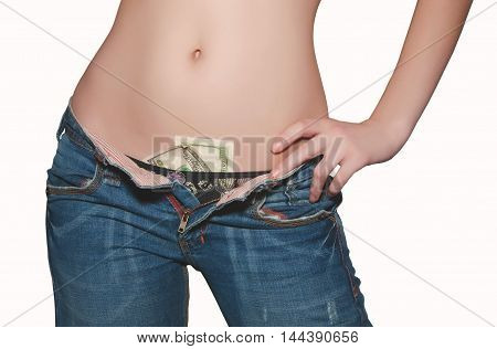 girl in jeans with an unbuttoned his pants