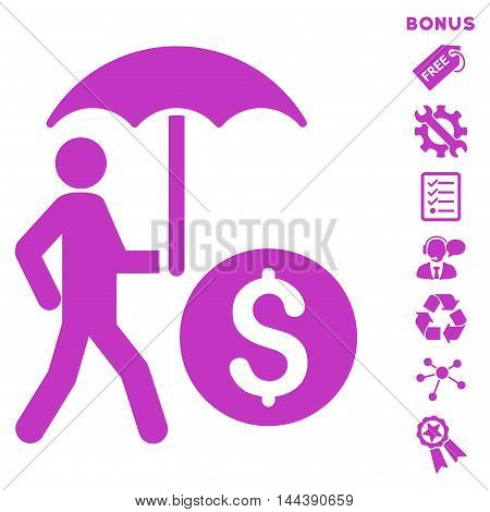Walking Banker With Umbrella icon with bonus pictograms. Vector illustration style is flat iconic symbols, violet color, white background, rounded angles.