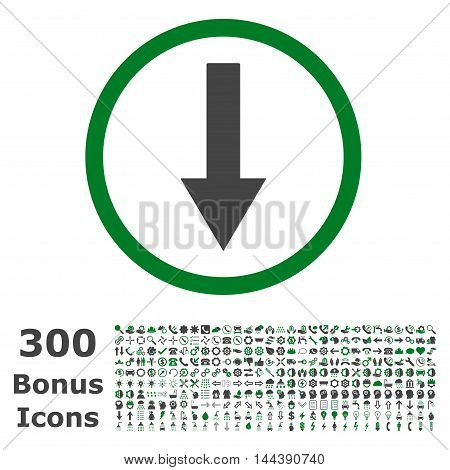 Down Rounded Arrow icon with 300 bonus icons. Vector illustration style is flat iconic bicolor symbols, green and gray colors, white background.