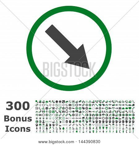 Down-Right Rounded Arrow icon with 300 bonus icons. Vector illustration style is flat iconic bicolor symbols, green and gray colors, white background.