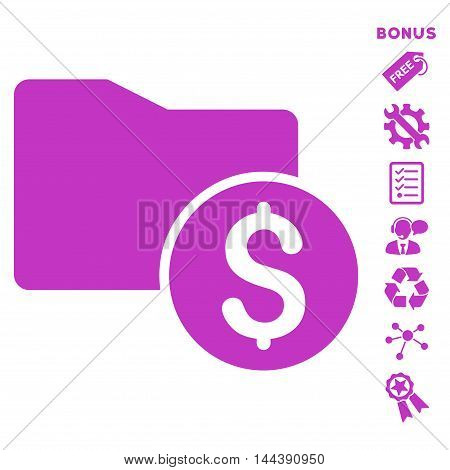 Money Folder icon with bonus pictograms. Vector illustration style is flat iconic symbols, violet color, white background, rounded angles.