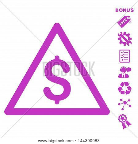 Money Warning icon with bonus pictograms. Vector illustration style is flat iconic symbols, violet color, white background, rounded angles.