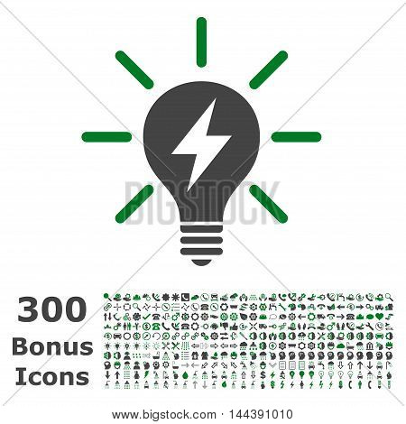 Electric Light Bulb icon with 300 bonus icons. Vector illustration style is flat iconic bicolor symbols, green and gray colors, white background.