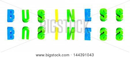 Word business from plastic letters on a white background
