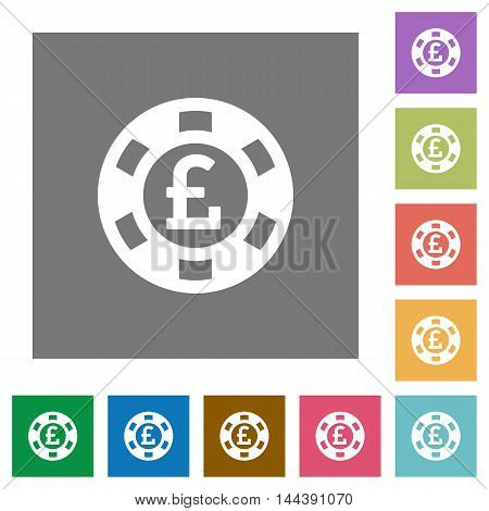 Pound casino chip flat icon set on color square background.