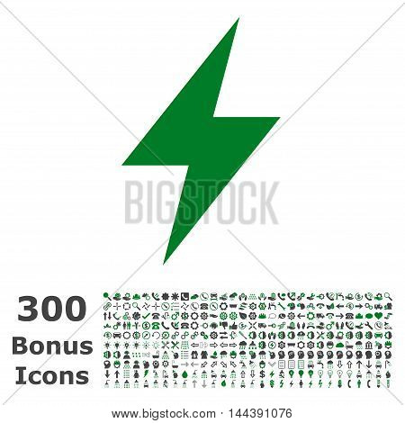 Electric Strike icon with 300 bonus icons. Vector illustration style is flat iconic bicolor symbols, green and gray colors, white background.