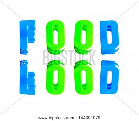 word food from plastic letters on a white background