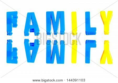 word family from plastic letters on a white background