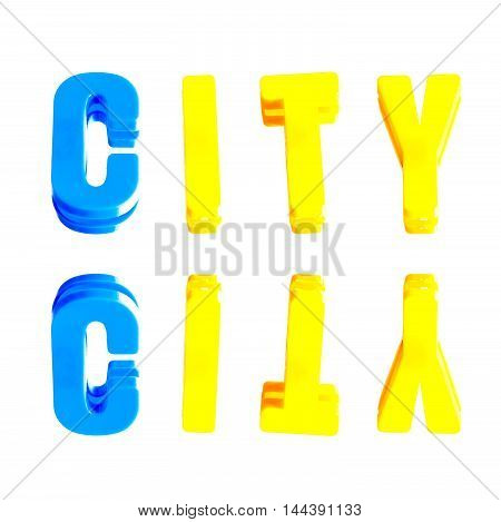 word city from plastic letters on a white background