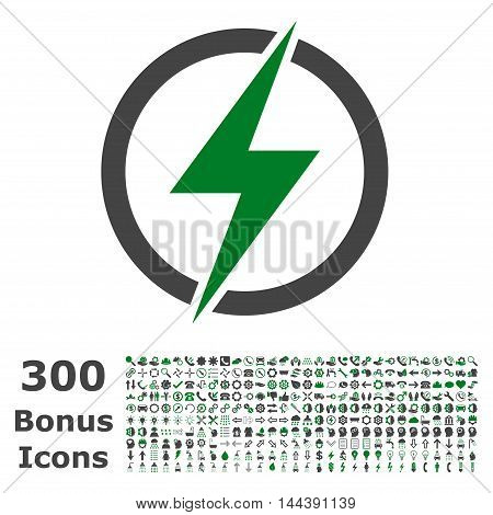 Electricity icon with 300 bonus icons. Vector illustration style is flat iconic bicolor symbols, green and gray colors, white background.