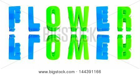 word flower from plastic letters on a white background