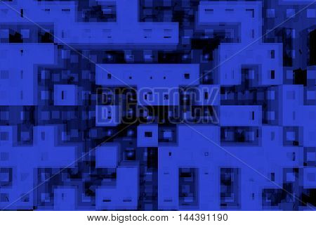 Blue 3D technology sci-fi abstract background with random cubes.