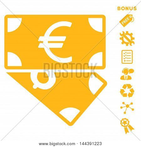 Euro and Dollar Banknotes icon with bonus pictograms. Vector illustration style is flat iconic symbols, yellow color, white background, rounded angles.