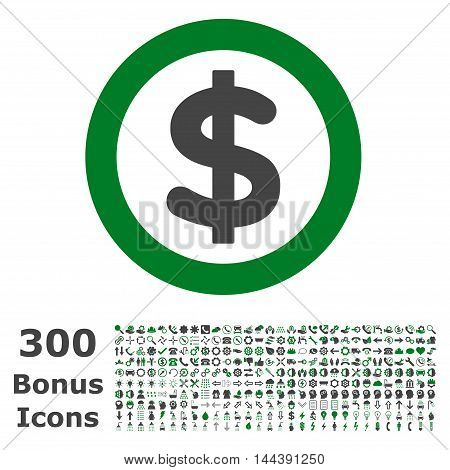 Finance icon with 300 bonus icons. Vector illustration style is flat iconic bicolor symbols, green and gray colors, white background.