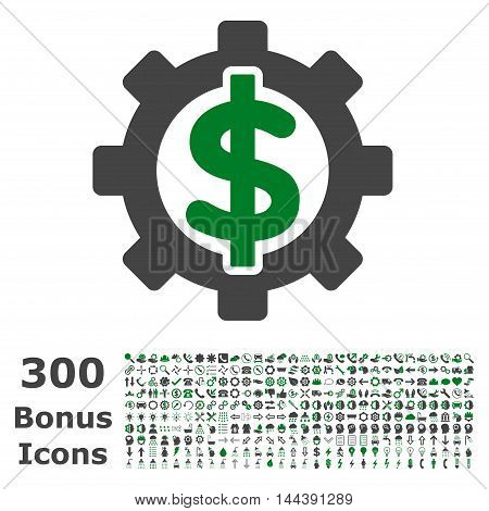 Financial Options icon with 300 bonus icons. Vector illustration style is flat iconic bicolor symbols, green and gray colors, white background.