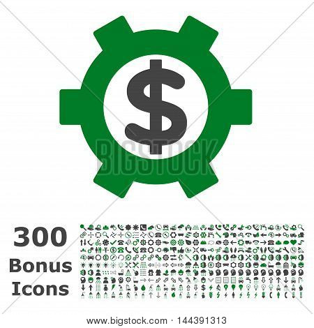 Financial Settings icon with 300 bonus icons. Vector illustration style is flat iconic bicolor symbols, green and gray colors, white background.