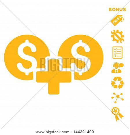 Financial Sum icon with bonus pictograms. Vector illustration style is flat iconic symbols, yellow color, white background, rounded angles.