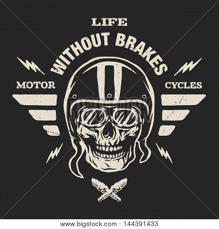 Racer skull in helmet, vintage style. Emblem, t-shirt design.  For a dark background.