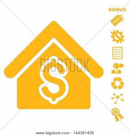 House Rent icon with bonus pictograms. Vector illustration style is flat iconic symbols, yellow color, white background, rounded angles.