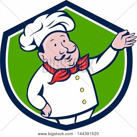 Illustration of a french chef cook baker with moustache wearing hat and bandana on neck with arm out welcoming greeting viewed from front set inside shield crest on isolated background done in cartoon style.