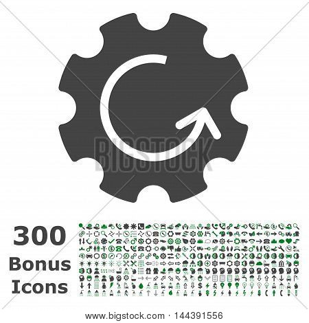 Gear Rotation icon with 300 bonus icons. Vector illustration style is flat iconic bicolor symbols, green and gray colors, white background.